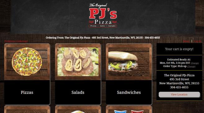 Original PJs pizzeria online ordering