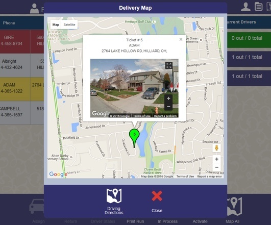 delivery location shown on map