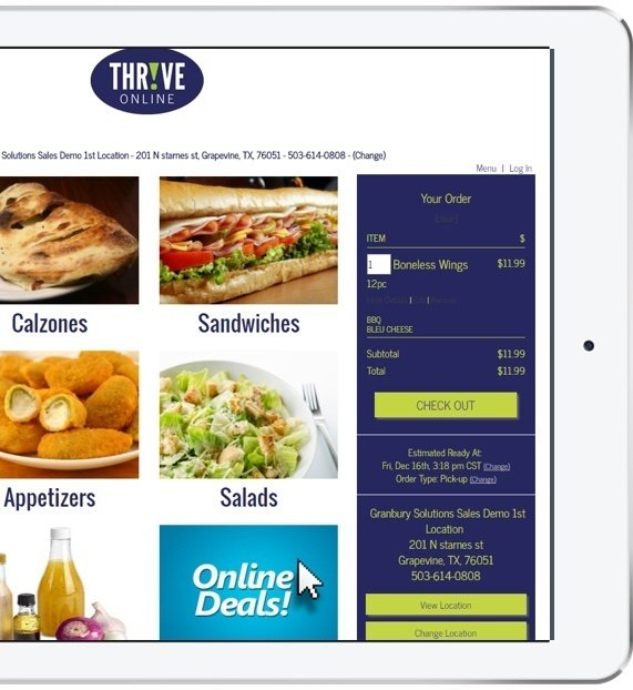 ipad tablet showing thrive online menu with check out options