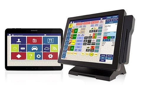 traditional POS system and an ipad tablet