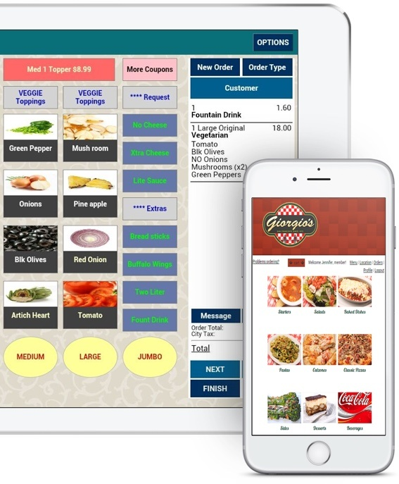 ipad tablet pos screen and a smartphone showing online ordering menu
