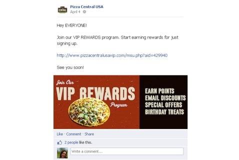 Image of a facebook loyalty VIP reward post