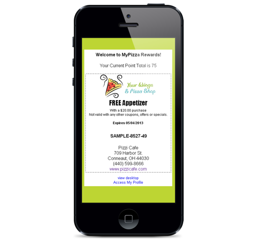 smartphone showing a loyalty reward