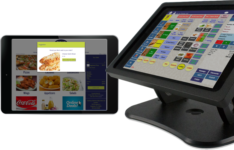 image of traditional POS system next to an ipad